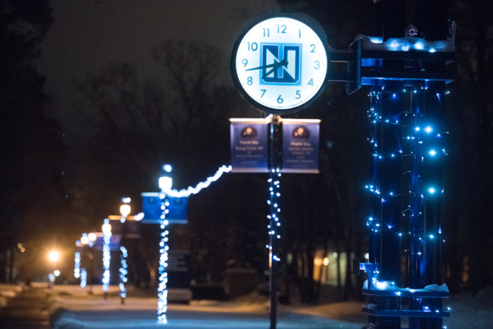 Northwood University clock lit by holiday lights