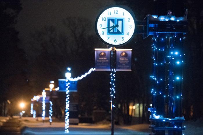 Northwood University clock lit by holiday lights